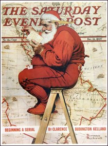 Père Noel par Norman Rockwell - couverture Saturday evening post