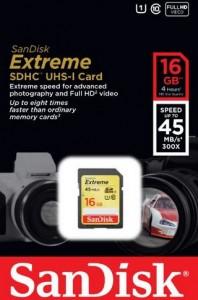 BON PLAN 12,99 euros la carte SDHC 16Go 45Mo/s ExtremeSanDisk