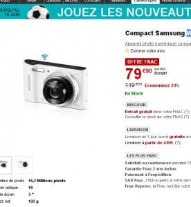 BON PLAN Moins de 80 euros l'appareil photo wifi samsungWB30F
