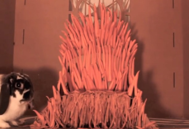 This Bunny Rabbit Named Wallace The Mad King Has His Very Own Iron Throne Made OfCarrots