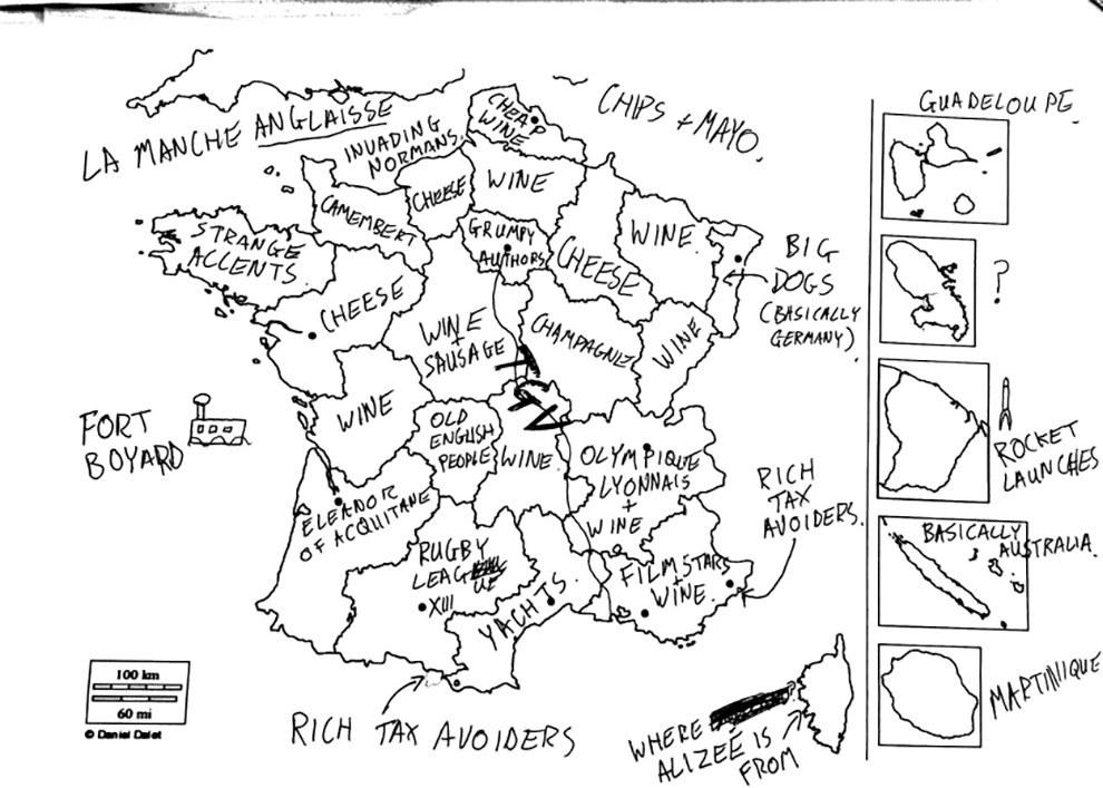 20150414 - Fun/ Buzzfeed : On a demandé à des Britanniques de remplir une carte de la France ...