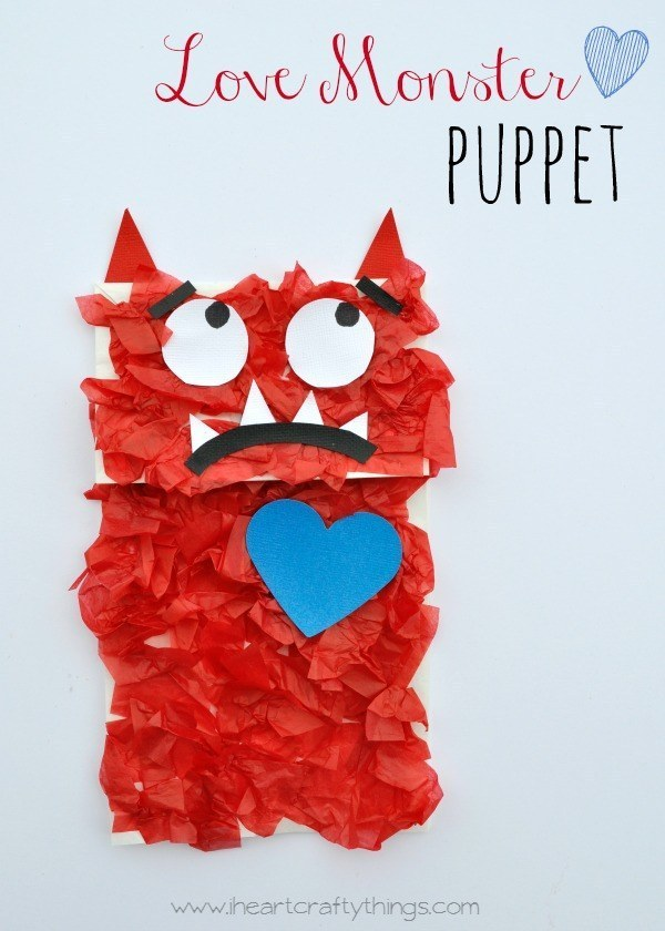 Keep your kid entertained by helping them to craft this Love Monster puppet.