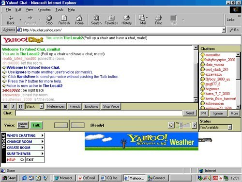 And talking to weird people in Yahoo chatrooms.