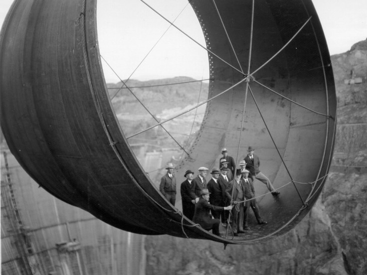 This group of officials posing for a portrait during the construction of the Hoover Dam in 1935.