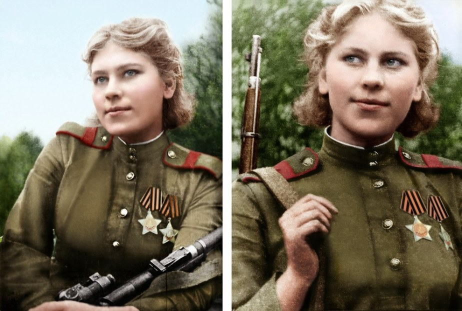 Nineteen-year-old Russian sniper Roza Shanina after 54 confirmed Nazi kills during World War II.