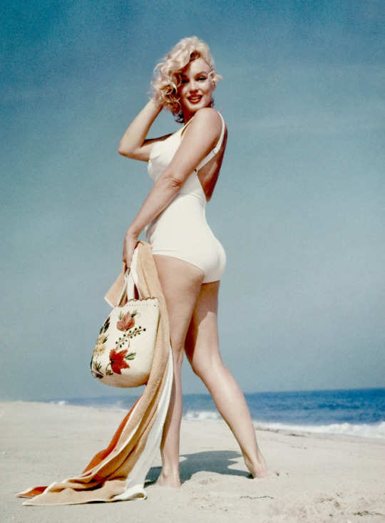 Marilyn Monroe on the beach.