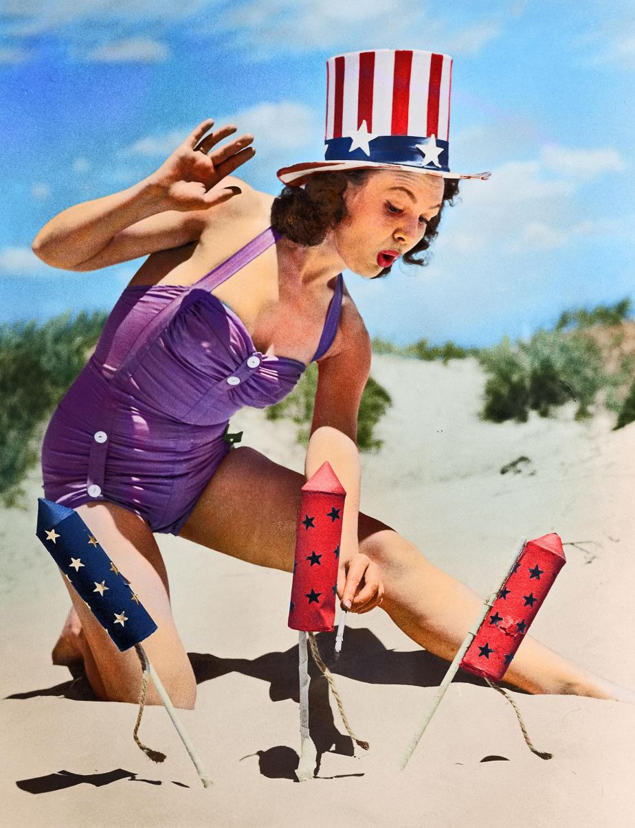 Actress Louise Synder wearing a patriotic hat to light fireworks on the beach during Fourth of July celebrations, circa 1950.