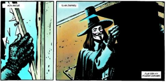 Extrait de« V pour Vendetta», un des comics écrits par Alan Moore.