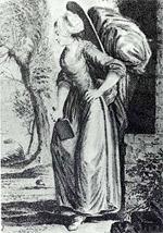 Gravure représentant une blanchisseuse au XVIIIème siècle