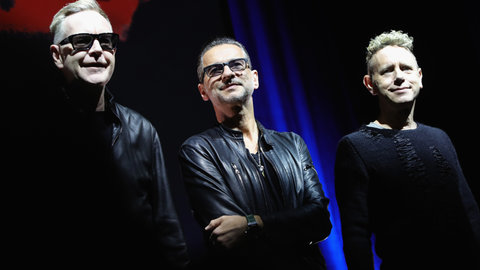 Depeche Mode attend a photocall to launch the Global Spirit Tour on Oct. 11, 2016 in Milan, Italy.